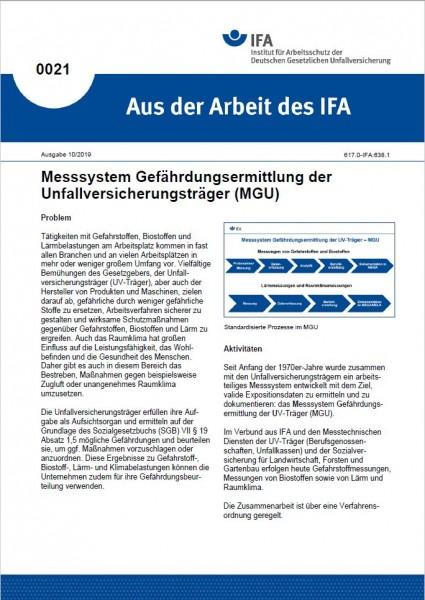 Messsystem Gefährdungsermittlung der Unfallversicherungsträger (MGU). Aus der Arbeit des IFA Nr. 002