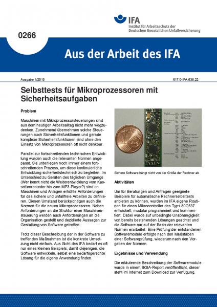 Selbsttests für Mikroprozessoren mit Sicherheitsaufgaben. Aus der Arbeit des IFA Nr. 0266