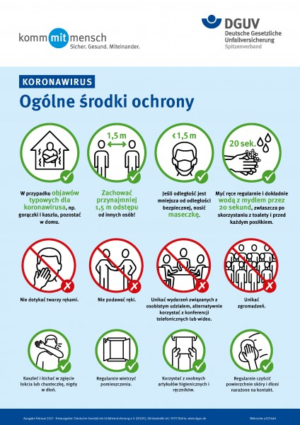 Koronawirus - Ogólne środki ochrony (Coronavirus - Allgemeine Schutzmaßnahmen in polnischer Sprache)