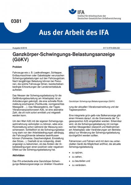 Ganzkörper-Schwingungs-Belastungsanzeige (GöKV) (Aus der Arbeit des IFA Nr. 0381)