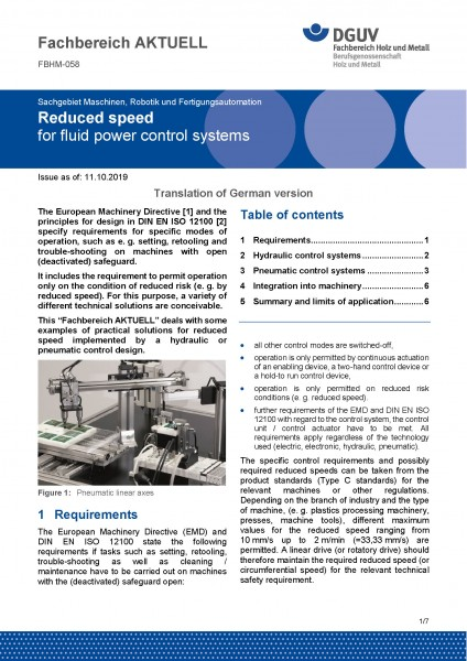 "FBHM-058 ""Reduced speed for fluid power control systems"""
