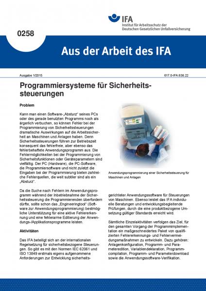 Programmiersysteme für Sicherheitssteuerungen. Aus der Arbeit des IFA Nr. 0258
