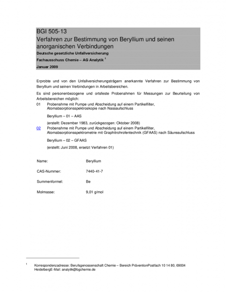 Verfahren zur Bestimmung von Beryllium und seinen anorganischen Verbindungen