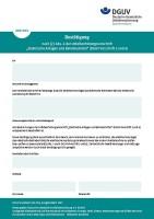 """Bestätigung nach § 5 Abs. 4 der Unfallverhütungsvorschrift """"Elektrische Anlagen und Betriebsmittel"""" (DGUV Vorschrift 3 und 4)"""