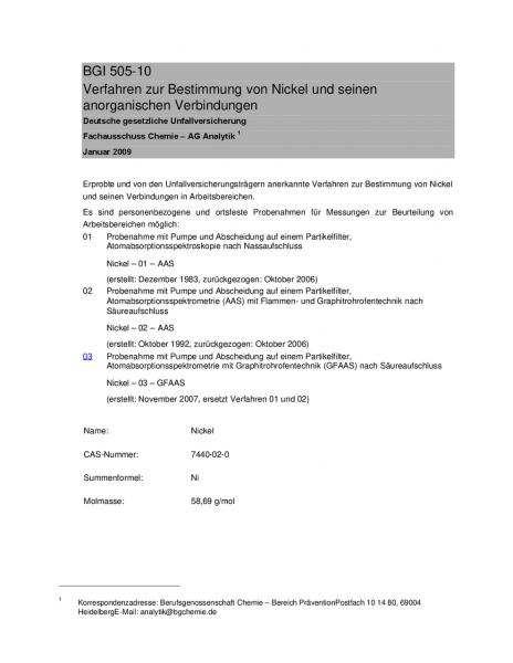 Verfahren zur Bestimmung von Nickel und seinen anorganischen Verbindungen