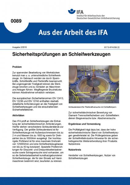 Sicherheitsprüfungen an Schleifwerkzeugen. Aus der Arbeit des IFA Nr. 0089