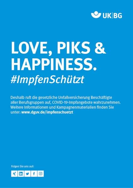 "Plakat #ImpfenSchützt, Motiv ""Love, Piks & Happiness"" (UK BG) Hochformat"