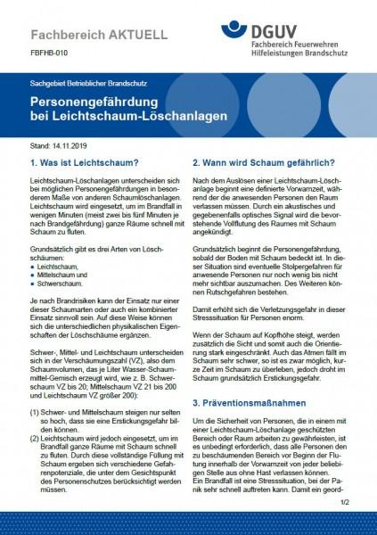 """FBFHB-010 """"Personengefährdung bei Leichtschaum-Löschanlagen"""""""