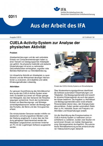 CUELA-Activity-System zur Analyse der physischen Aktivität. Aus der Arbeit des IFA Nr. 0311