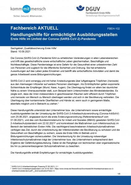 """FBEH-102 """"Handlungshilfe für ermächtigte Ausbildungsstellen - Erste Hilfe im Betrieb im Umfeld der C"""