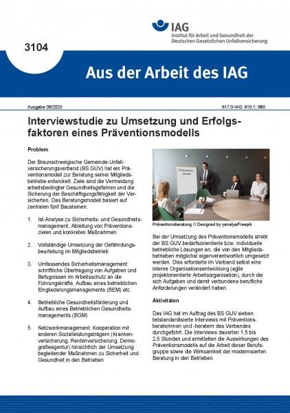 Interviewstudie zu Umsetzung und Erfolgsfaktoren eines Präventionsmodells (Aus der Arbeit des IAG 31