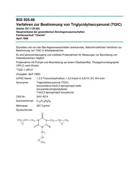 Verfahren zur Bestimmung von Triglycidylisocyanurat (TGIC)