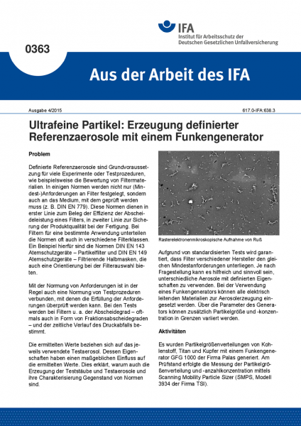 Ultrafeine Partikel: Erzeugung definierter Referenzaerosole mit einem Funkengenerator (Aus der Arbei