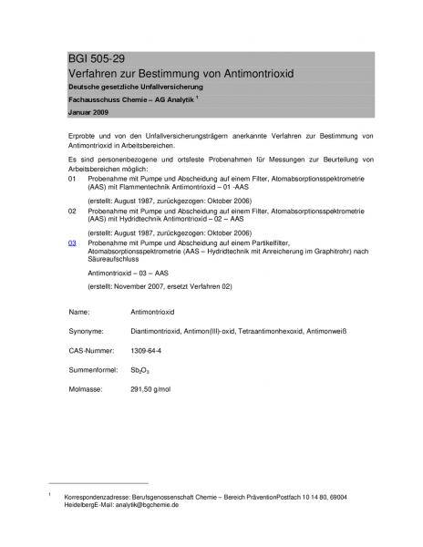 Verfahren zur Bestimmung von Antimontrioxid