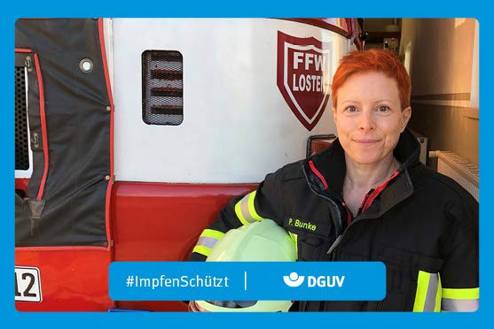 """Motiv #ImpfenSchützt """"Dr. Patricia Bunke"""" (DGUV)"""