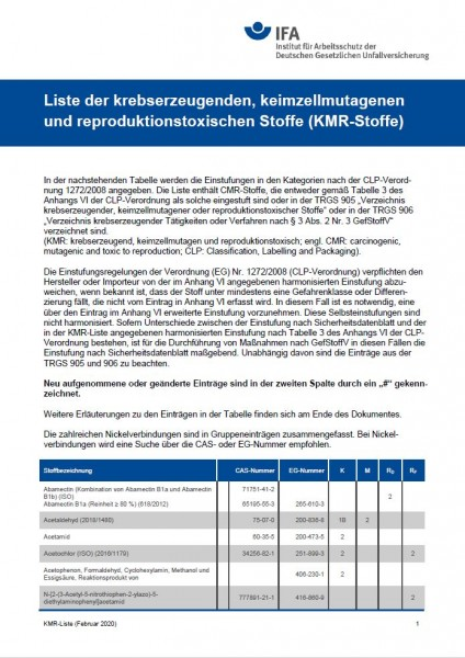 Liste der krebserzeugenden, keimzellmutagenen und reproduktionstoxischen Stoffe (KMR-Stoffe)