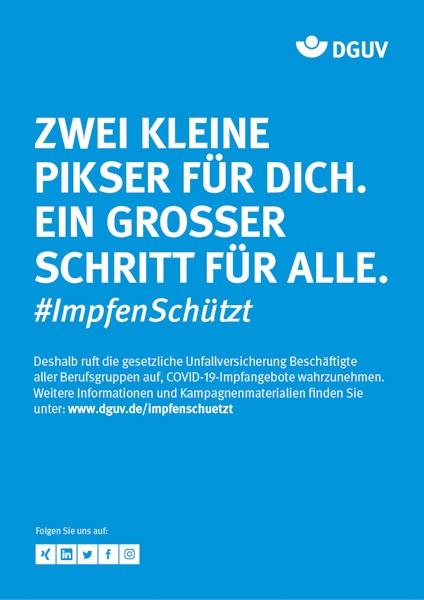"""Plakat #ImpfenSchützt, Motiv """"Zwei kleine Pikser"""" (DGUV) Hochformat"""