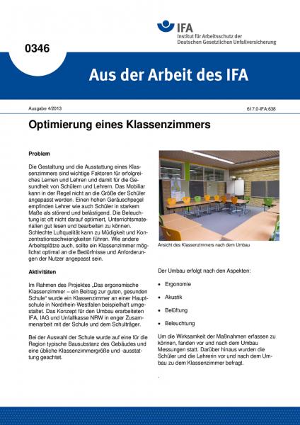 Optimierung eines Klassenzimmers (Aus der Arbeit des IFA Nr. 0346)