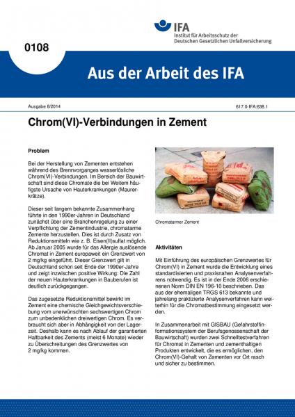 Chromate in Zement. Aus der Arbeit des IFA Nr. 0108