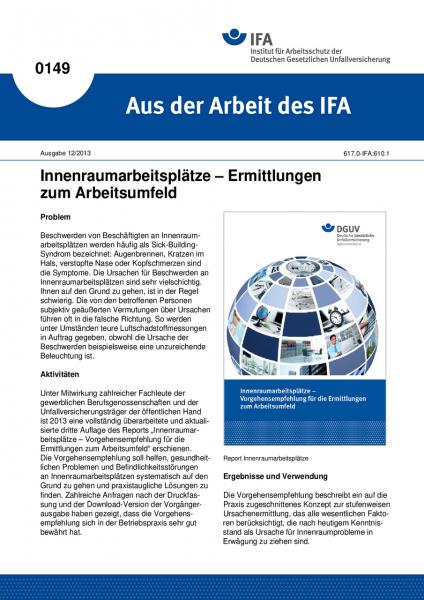 Innenraumarbeitsplätze - Ermittlungen zum Arbeitsumfeld. Aus der Arbeit des IFA Nr. 0149