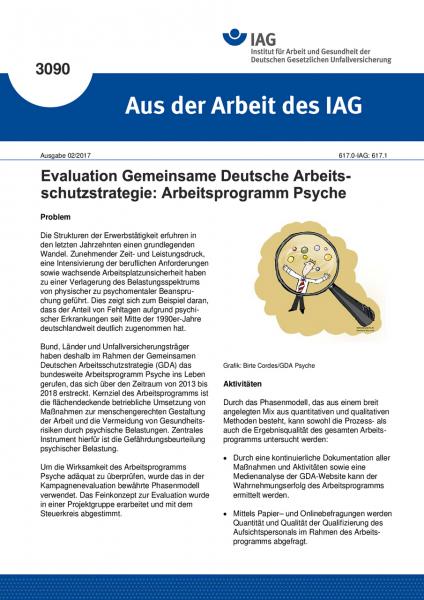 """Evaluation Gemeinsame Deutsche Arbeitsschutzstrategie: Arbeitsprogramm Psyche (""""Aus der Arbeit des I"""