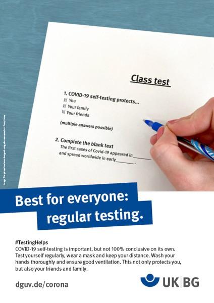 "Poster #Testing helps, motif ""class test"" (UK BG)"