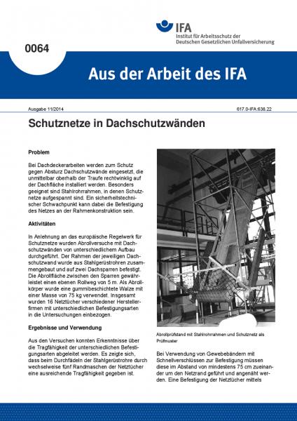 Schutznetze in Dachschutzwänden. Aus der Arbeit des IFA Nr. 0064