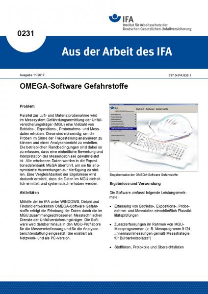 OMEGA-Software Gefahrstoffe. Aus der Arbeit des IFA Nr. 0231