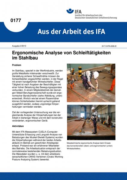 Ergonomische Analyse von Schleiftätigkeiten im Stahlbau. Aus der Arbeit des IFA Nr. 0177