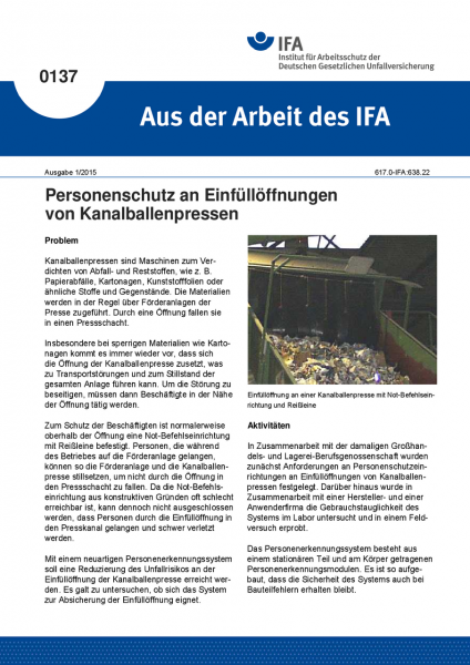 Personenschutz an Einfüllöffnungen von Kanalballenpressen. Aus der Arbeit des IFA Nr. 0137