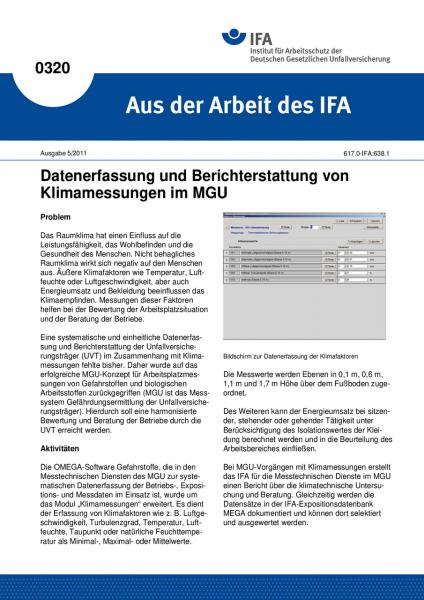 Datenerfassung und Berichterstattung von Klimamessungen im MGU. Aus der Arbeit des IFA Nr. 0320