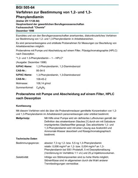 Verfahren zur Bestimmung von 1,2- und 1,3-Phenylendiamin