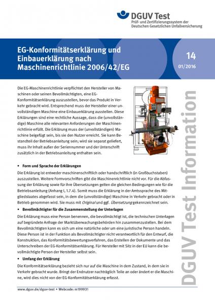 EG-Konformitätserklärung und Einbauerklärung nach Maschinenrichtlinie 2006/42/EG