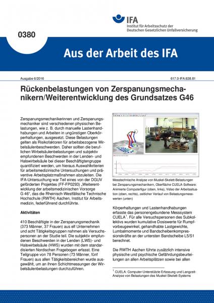 Rückenbelastungen von Zerspanungsmechanikern/Weiterentwicklung des Grundsatzes G46 (Aus der Arbeit d