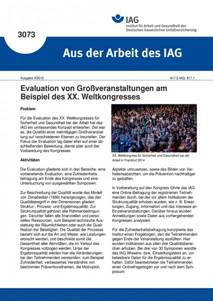 Evaluation von Großveranstaltungen am Beispiel des XX. Weltkongresses (Aus der Arbeit des IAG Nr. 30