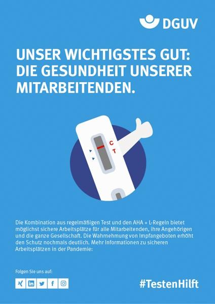 """Plakat #TestenHilft, Motiv ,,wichtigstes Gut"""" (DGUV)"""