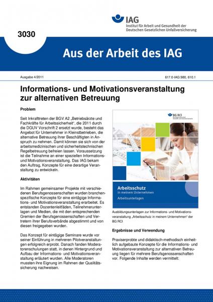 Informations- und Motivationsveranstaltung zur alternativen Betreuung. Aus der Arbeit des IAG Nr. 30