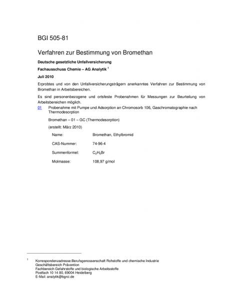 Verfahren zur Bestimmung von Bromethan