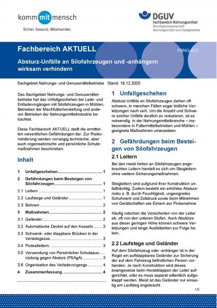 """FBNG-012 """"Absturz-Unfälle an Silofahrzeugen und -anhängern wirksam verhindern"""""""