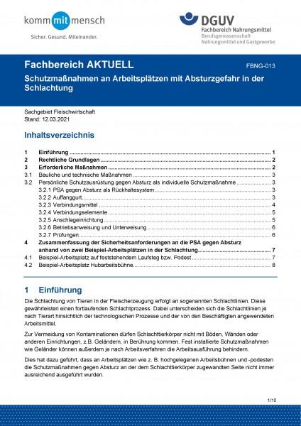 """FBNG-013 """"Schutzmaßnahmen an Arbeitsplätzen mit Absturzgefahr in der Schlachtung"""""""