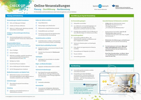 CHECK-UP Online-Veranstaltungen: Planung, Durchführung, Nachbereitung - Kurzversion