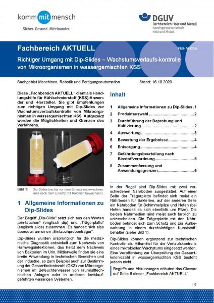 """FBHM-056 """"Richtiger Umgang mit Dip-Slides – Wachstumsverlaufskontrolle von Mikroorganismen in wasser"""