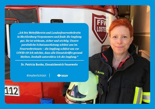 """Plakat #ImpfenSchützt, Motiv """"Frau Dr. Bunke"""" (DGUV) Querformat"""
