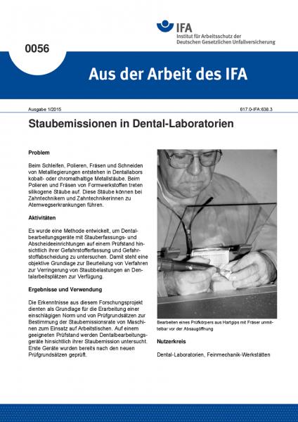 Staubemissionen in Dental-Laboratorien. Aus der Arbeit des IFA Nr. 0056