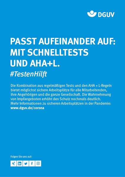 """Plakat #TestenHilft, """"Passt aufeinander auf"""" (DGUV)"""