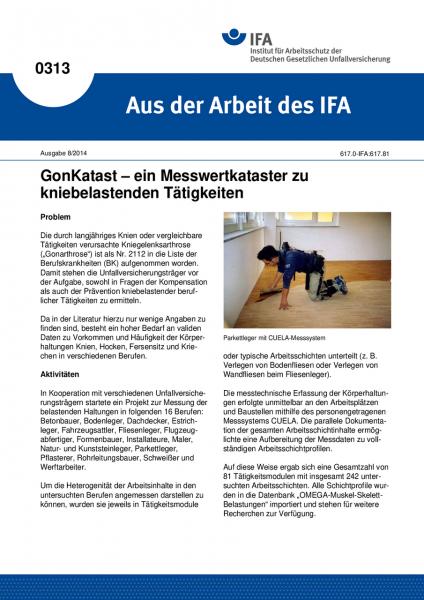 GonKatast - ein Messwertkataster zu kniebelastenden Tätigkeiten. Aus der Arbeit des IFA Nr. 0313