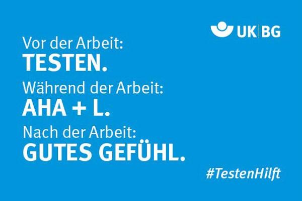 "Motiv #TestenHilft, ,,Testen, AHA+L, Gutes Gefühl"" (UK|BG)"