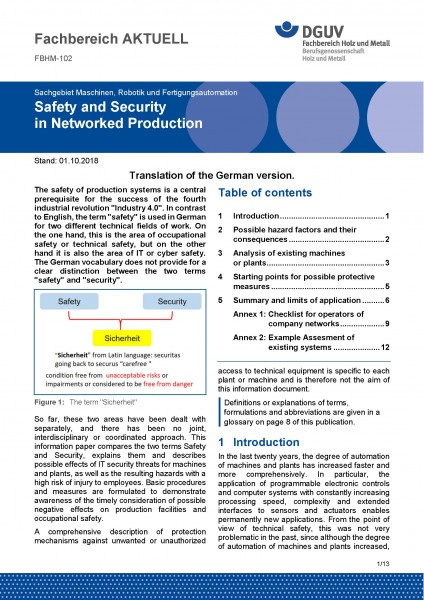"FBHM-102 ""Safety and Security in Networked Production"""