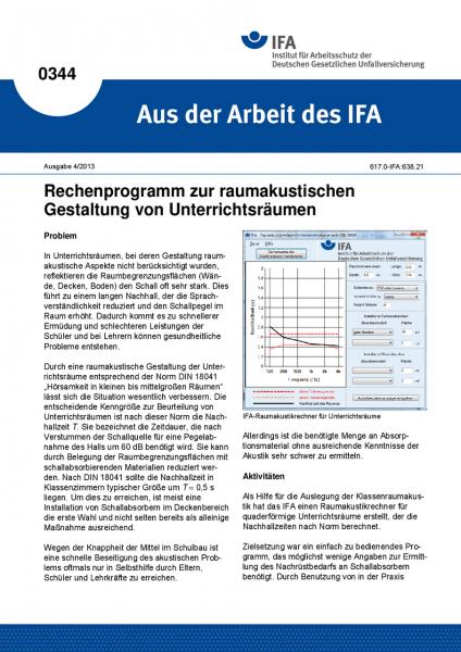 Rechenprogramm zur raumakustischen Gestaltung von Unterrichtsräumen (Aus der Arbeit des IFA Nr. 0344