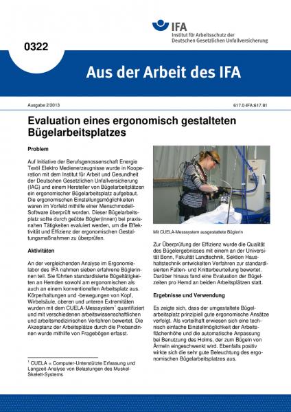 Evaluation eines ergonomisch gestalteten Bügelarbeitsplatzes. Aus der Arbeit des IFA Nr. 0322
